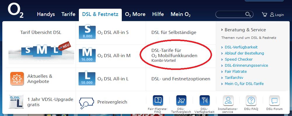 o2 DSL Kombi-Vorteil